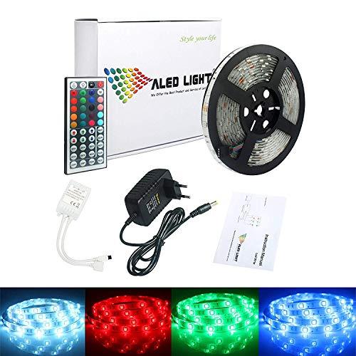 5M Impermeable Tiras de Luz LED ALED LIGHT 5050 SMD RGB Multicolor 150 LEDs Luces Led Strip de Exterior + Control Remoto de 44 Botones + Fuente de Alimentación