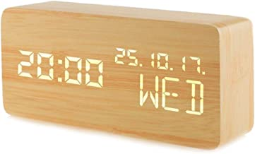MEGICOT Alarm Clock, Wooden LED Alarm Clock Voice Command Electric Time Bedside LED Travel Alarm Clock Cube 3 Levels Brigh...
