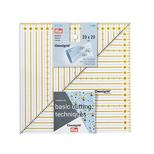 Prym Patchwork Square 20 x 20 cm Omnigrid Lineal, Kunststoff, transparent