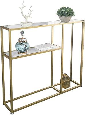 Oupai Tables Console, 2 Niveau Marbre Étagère De Rangement d'or Entrée en Bois Massif Cabinet Fer Art Salon Sofa Table 30 × 9 × 30 Pouces pour Salon Chambre (Color : Ecological Board)