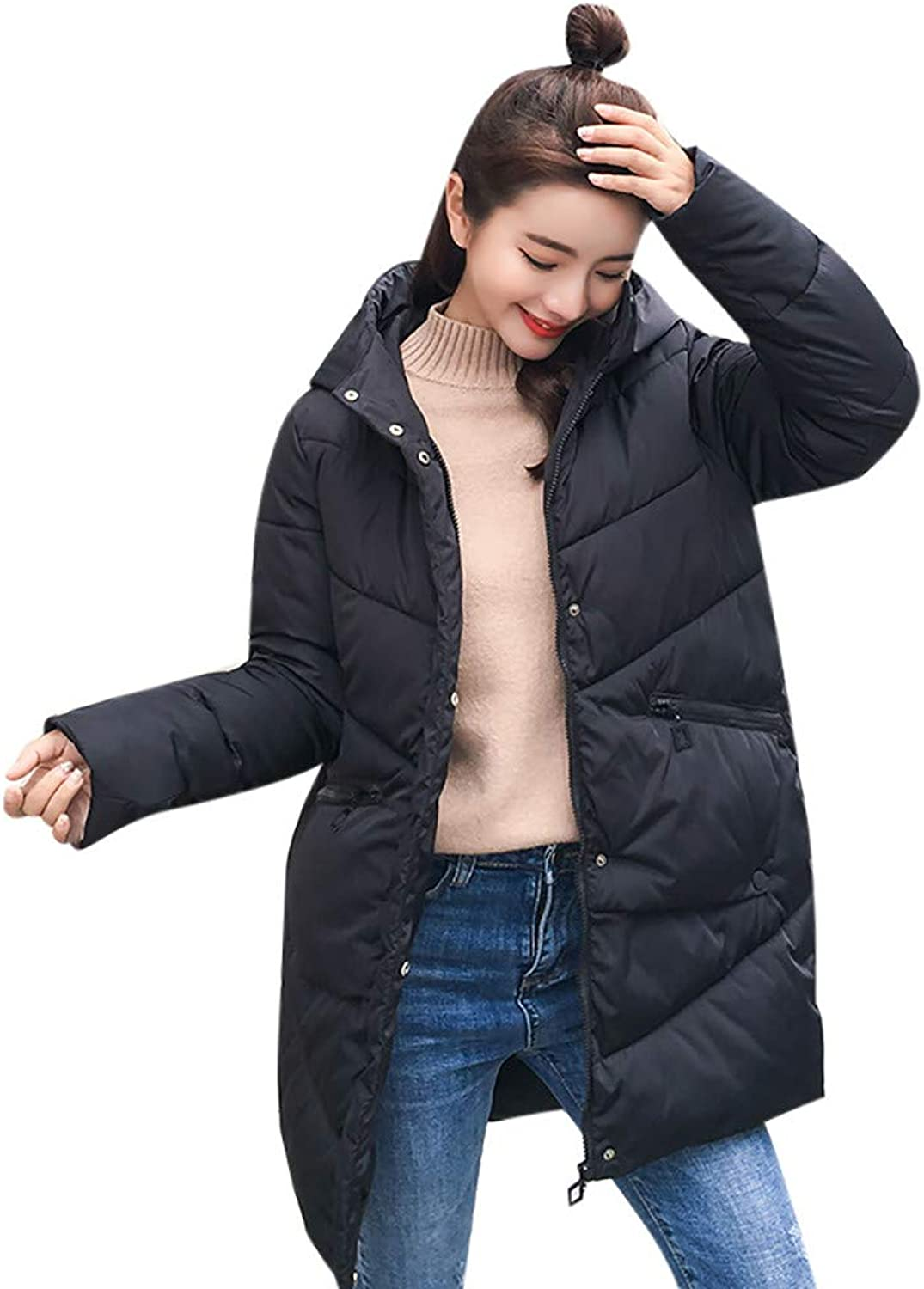 Kangma Women Winter Coat Collar Long Jackets Warm Thicken Padded Hooded Coat