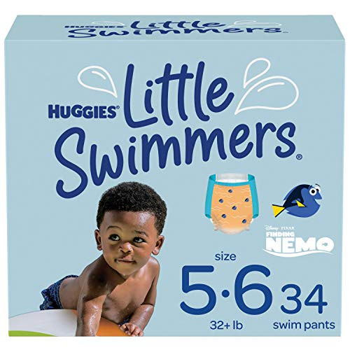 Huggies Little Swimmers Swim Diapers Disposable Swim Pants, Size 5-6 Large, 34 Ct