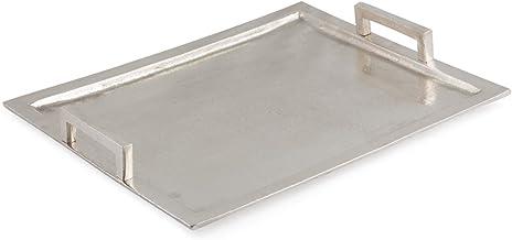 Boho Traders Aluminium Rectangular Tray with Flat Handles, Raw Silver