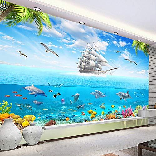 3D Modern Wallpaper Beach Sailing 3D Effect Non-Woven Wall Mural Wall Decoration Modern Decorative Poster Picture 55.11 x 39.37 inch