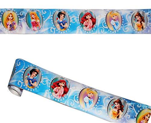 """Wandbordüre - selbstklebend - """" Disney Princess """" - 5 m - Wandsticker / Wandtattoo - Bordüre Aufkleber Kinderzimmer - für Kinder Mädchen - Rapunzel / Arielle / Schneewittchen / Belle - Baby Borte - Wandborte - Borten - Tapetenbordüre / selbstklebende - Wandbordüren - Bordüren - Prinzessin"""