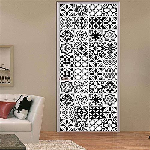 A/X Etiqueta engomada de la Puerta del azulejo 3D decoración del hogar Vinilo Mural Autoadhesivo Cartel Estilo árabe Retro cerámica calcomanía Pegatinas Porte Puertas Papel Tapiz MT088