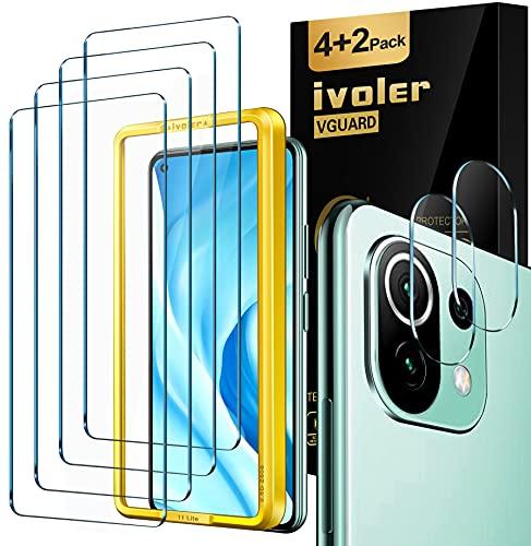 ivoler 4 Unidades Protector de Pantalla Compatible con Xiaomi Mi 11 Lite 4G y 5G con [2 Unidades] Protector de Lente de Cámara y Marco de Instalación Fácil, Cristal Vidrio Templado Premium
