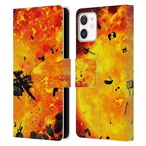 Head Case Designs Offizielle Simone Gatterwe Brennender Planet Wolke Und Raum Leder Brieftaschen Handyhülle Hülle Huelle kompatibel mit Apple iPhone 12 Mini