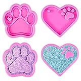 DIY corazón de silicona fondant formas de silicona fondant formas 4 piezas amor huella huella llavero llavero silicona formas corazón osito perro pepitas formas