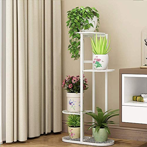 Metal 4 Tier 5 Potted Plant Stand Multiple Flower Pot Holder Shelves Planter Rack Storage Organizer Display for Indoor Garden Balcony, Overall Size: 33×17.5 Inch