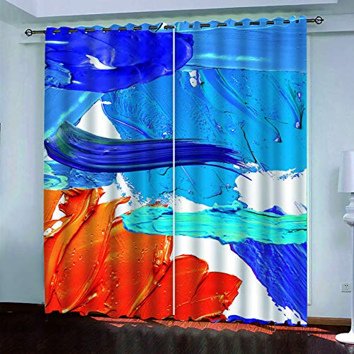 YUNSW Oil Painting Animal Curtains, Blackout And Soundproof Decorative Curtains For Living Room, Bedroom, Garden And Kitchen, Two-Piece Perforated Curtain