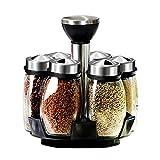 Gewürzregal mit 6 Glas Gewürzbehältern, Edelstahl GewüRzkarussell Drehbar Spice Set, für...