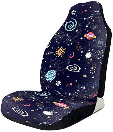 Schapen ruimte Galaxy sterrenbeeld patroon auto voorzijde stoelhoezen, past bijna auto's, vrachtwagens, bestelwagens, SUV 1 PCS Als afbeelding