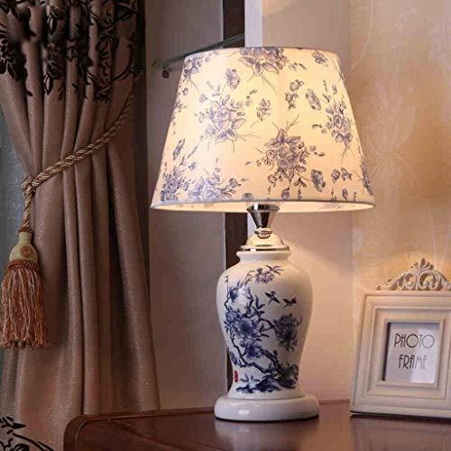 Outingstarcase Lámparas de mesa, moderna simple chino tallado de la lámpara de cerámica, sala de estar dormitorio lámpara de cabecera, azul luz de la noche de lectura Adecuado para estudio, trabajo, h