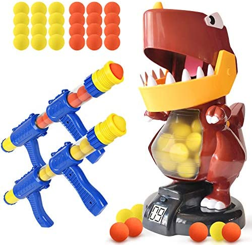 BFUNTOYS Shooting Games Dinosaur Toys for Kids with 2 Popper Air Guns 48 Foam Balls Shooting product image