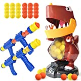 BFUNTOYS Dinosaur Target Shooting Games Toys for Age 5, 6, 7, 8,9,10+ Years Old Kids & Boys, Indoor Activity Gifts with 2 Popper Air Toy Guns,48 Foam Balls,Dinosaur Shooting Target,Electronic Scoring
