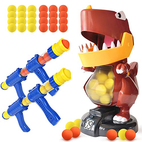 BFUNTOYS Shooting Game for Kids  Dinosaur Shooting Target Toys for Boys Girls Adults   Indoor Activity Gifts for Parent-Child Interaction with 2 Popper Air Toy Guns 48 Foam Balls Electronic Scoring