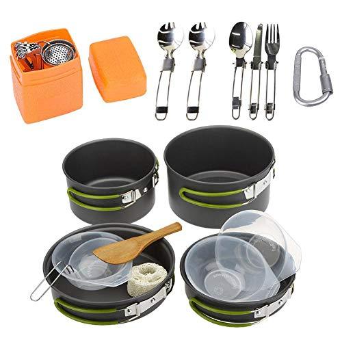 Cocinar con Mochila Kit portátil Ligero cocinar Conjunto de Aluminio Antiadherente Camping ollas y sartenes con Caldera para 2-3 Personas para Acampar al Aire Libre 17pcs Senderismo con