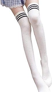 Moda Rayas Beads Overknee Medias Mujeres Largas Alto Medias Elástico Estilo Simple Clásico Moda Calcetines De Rayas Básicas