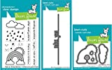 Lawn Fawn - Rain or Shine Before 'n After Clear Stamp and Die Sets with Miss You Line Border Die - 3 Items