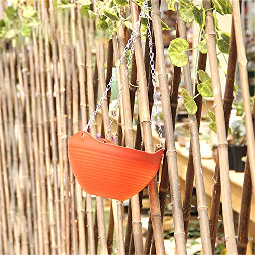 Hanging Plant Basket, Hanging Flower Pots with Drainage Hole Chain Hook, Stripe Pattern Platics Plant Pots Hanger, Plant Holder Container for Herbs Violets Rattan, Garden Balcony Home Decor
