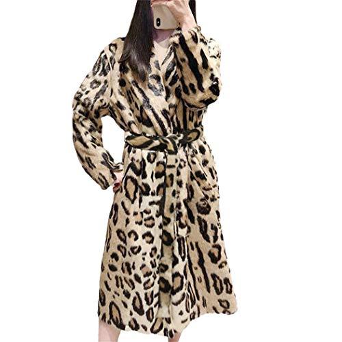 Abrigo de Piel sintética con Estampado de Leopardo, Manga Larga con cinturón,...