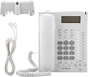 Landline Telephone Fixed Corded Phone with Caller ID LCD Display Speakerphone Flash Mute Handfree Function DTMF/FSK for Home Office Hotel