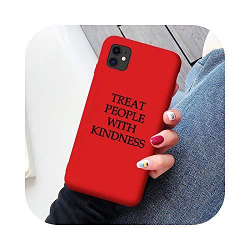 Funda para iPhone 12 11 Pro Max X XR XS MAX 7 8 6S Plus SE2020 con texto suave, color rojo