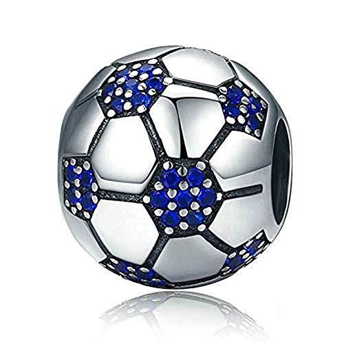 Charm a forma di palla sportiva, in argento Sterling 925, compatibile con braccialetti europei e Argento, cod. MG-16