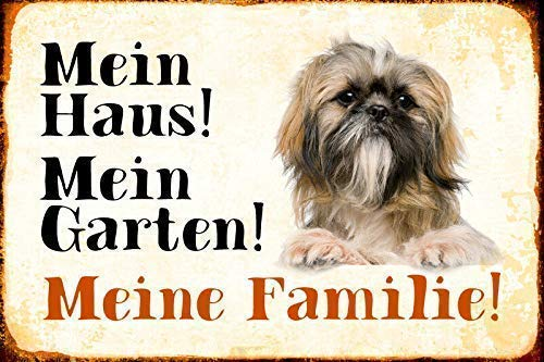 No/Brand Tin Sign Warning Sign Mein House Garden Dog Motif 6 Room Metal Poster Wall Decor