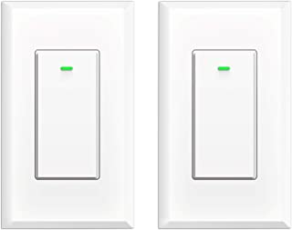Smart Switch, WiFi Smart Light Switch Compatible with Alexa Google Home and IFTTT, Neutral Wire Needed, with Remote Control, Timing Schedule, No hub Required (2 Pack)