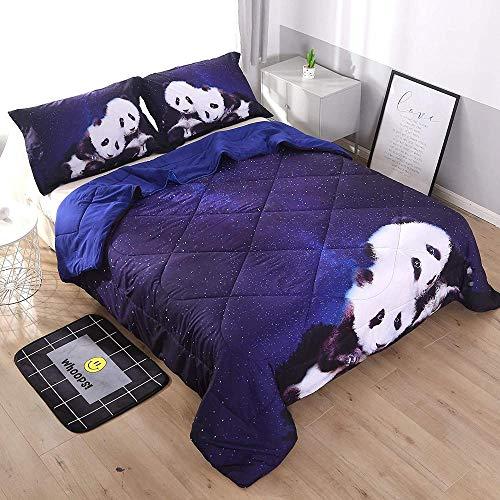 dsgsd Imagen de impresión de funda nórdica de impresión 3D Paisaje de panda blanco negro animal estrellado púrpura 180x220cm Juego de ropa de cama Funda de edredón Sábana Funda de almohada Ropa de cam