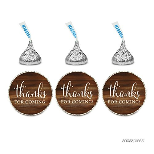 Andaz Press Chocolate Drop Labels Stickers, Thanks for Coming!, Rustic Wood Print, 216-Pack, for Wedding Birthday Party Baby Bridal Shower Hershey's Kisses Party Favors Decor Envelope Seals