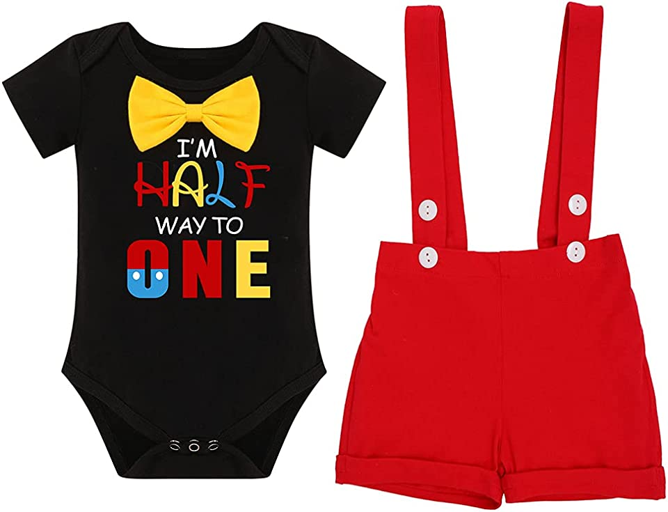 Baby Boys Half 1st Birthday Cake Smash Outfit Romper + Suspenders Overalls Shorts Pants Gentleman Clothes Photo Props