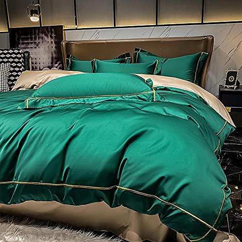 Greatcomfort Juego de Funda nórdica de algodón,60 Ropa de Cama de algodón de Cuatro Piezas de algodón de Fibra Larga sábana de Funda nórdica de Tres Piezas 4-Verde_Sábana de 1,2 m