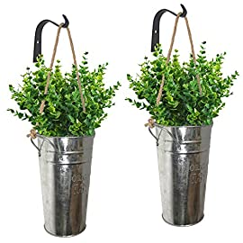 LESEN Galvanized Metal Wall Planter, Farmhouse Rustic Wall Decor Hanging Country Home Wall Vase for Flower or Plants… 1 ✅ GALVANIZED PLANTER : Wall planters are made of high quality galvanized metal features a vintage finish. Rustic wall decor in your home, planters are great for displaying artificial greenery plants, faux flowers, floral arrangements, seasonal decorations, shrub bouquet, foliage, fake lavender, eucalyptus plants, or cotton,ideas are endless. (The plants are not included in this item.) ✅ MULTI-PURPOSE :Galvanized Metal Wall Plant Container includes two galvanized buckets, two natural hemp ropes, and two sturdy quality black metal hooks, decorate your wall planter with your favourite plants,adds rustic and country sense for household style. The galvanized bucket made a leak-proof design and with handle,can be on the desk as a vase,place your flowers or dried flowers, also store any sundries you need. ✅ EASY TO HANG : These hanging wall vase planters not heavy, comes with all necessary hardware, easy to instally; Galvanized tin style planters hanging vertically on the wall to showcase your home, it's sturdy and shabby chic, antique, rustic, farmhouse , modern industrial, theme decor.Perfect for everyday use or special occasions, birthdays, weddings, parties, holidays, christmas, new year, valentine's Day.