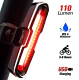 DON PEREGRINO B1-110 Lumens High Brightness Bike Rear Light Red, Powerful LED Bicycle Tail Light Rechargeable with 7 Steady/Flash Modes