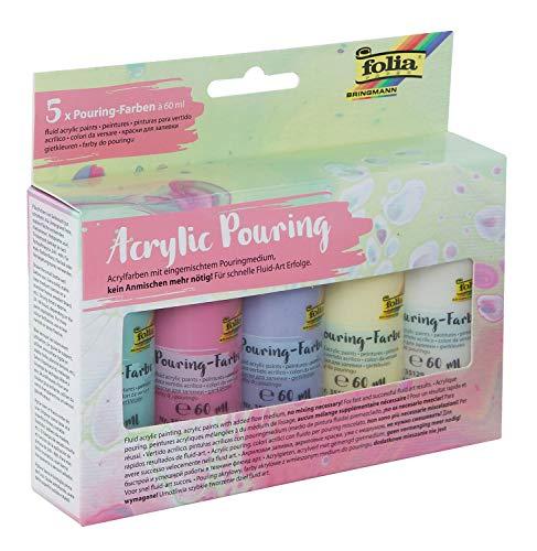Pouring Colors Set II Pastel composé de 5 verseurs pastels de 60 ml avec un verseur ingénieux