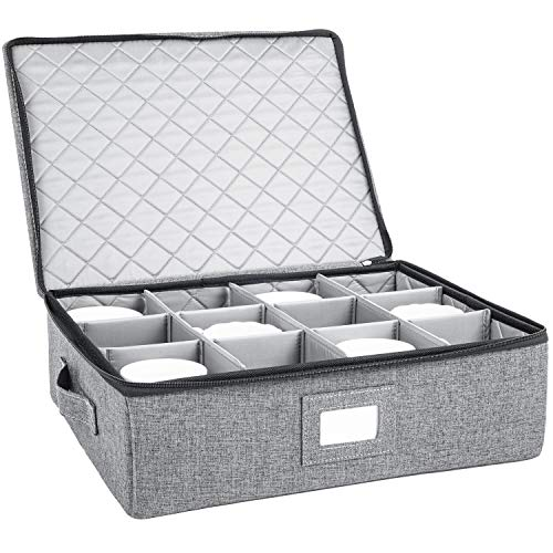 Cup and Mug Storage Box Holds 12 Coffee Mugs and Tea Cups Fully-Padded Inside with Sturdy Construction Grey