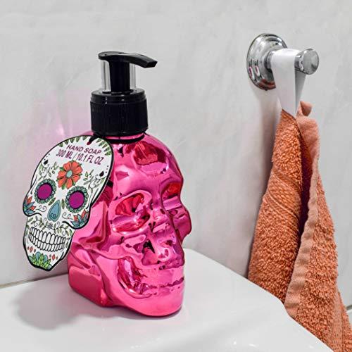 Totenkopf Deko Seifenspender im Skull Head Design inkl. 300ml Flüssigseife Spender für Seife (Metallic Pink)