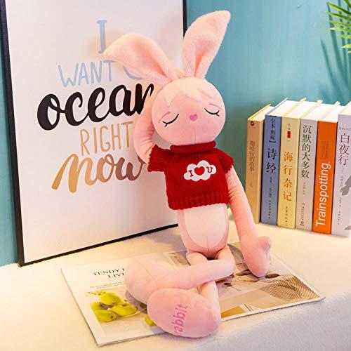 CZMCQM 60-150 Cm obstinado Conejo Rosa muñeco de Peluche de Juguete para niños niñas muñecas de Regalo-Rojo Sweater_80 Cm