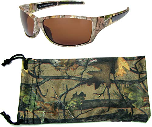 Hornz Brown Forrest Camouflage Polarized Sunglasses for Men Full Frame & Free Matching Microfiber Pouch – Brown Camo Frame – Blue Lens