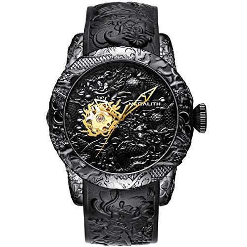 Armbanduhren,Mode Drachen Skulptur Uhr Männer Wasserdicht Großes Zifferblatt Quarzuhr Prägung, Schwarz Mechanisch