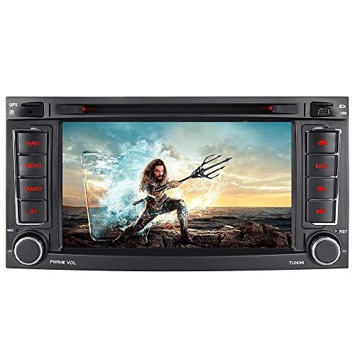 Junhua 7 Zoll Doppel 2 Din Autoradio Navi Navigation DVD GPS Bluetooth DAB Radio RDS Mirrorlink für VW Touareg T5 Multivan