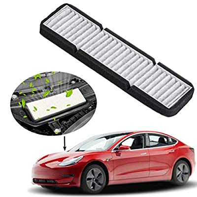 ROCCS Tesla Model 3 Air Intake Filters, Cabin Air Vent Intake with Activated Carbon Air Conditioning Air Intake Inlet Cover for Tesla Model 3 accessories