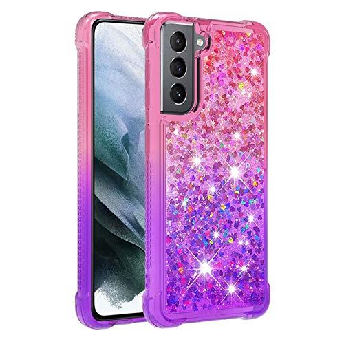 Molg Compatible con Funda Samsung Galaxy S21 5G Serie de Degradado Flotante Glitter Brillante Suave TPU Bumper Silicona Antigolpes Funda Protectora-Rosa Arriba y Morado Abajo