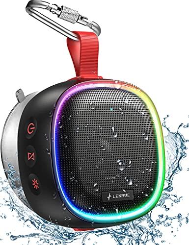 Bluetooth Speaker with RGB Lights, LENRUE IPX7 Waterproof Portable Shower...