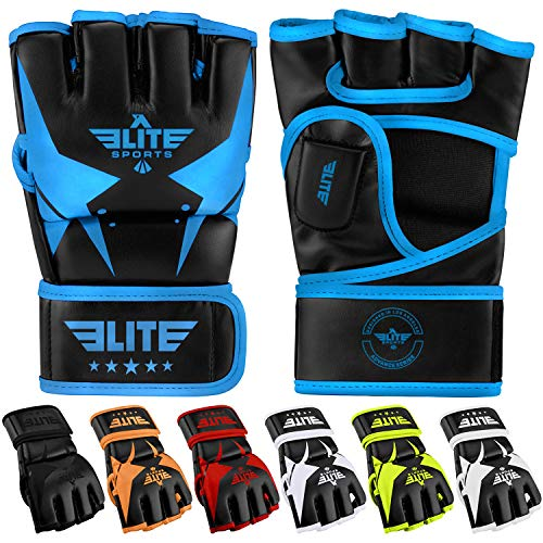 Elite Sports MMA UFC Gloves for Men, Women, and Kids, Best Mixed Martial Arts Sparring Training Grappling Fighting Gloves (Blue/Black, Large/X-Large)