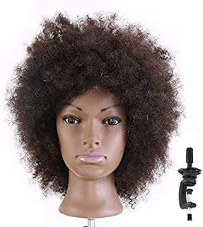HAIREALM Afro Mannequin Head 100% Human Hair Hairdresser Training Head Manikin Cosmetology Doll (Table Clamp Stand Included) HI28D