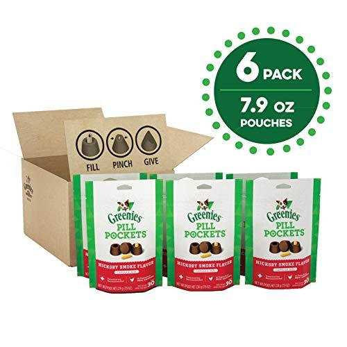 GREENIES PILL POCKETS Soft Dog Treats, Hickory Smoke, Capsule, (6) 7.9-oz. 30-count pack